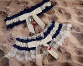 Fishing Navy Blue LInen look Ivory Twill Ivory lace Fish Bobber Charm Wedding Bridal Garter Toss Set