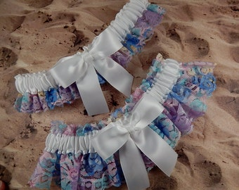 Rainbow Multicolored Lace White Satin Heart  Wedding Bridal Garter Toss Set
