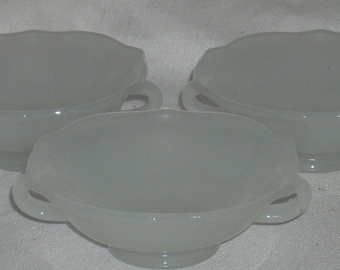 Elegant Opaque ClamBroth Glass Almond Nut Dishes Cups with Handles