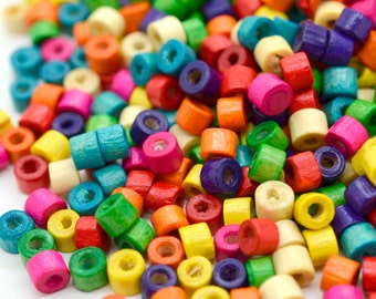 Wood Beads,  5000 pcs, 3x4mm,  Rainbow Colors, Wooden  Beads, Spacer beads