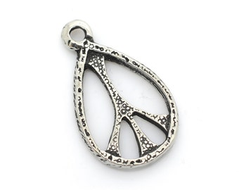 Pewter 60's Peace Pendant, 1pc, 24x16mm, Oval Peace Sign -P353