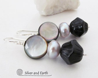 Pearl Dangle Earrings, Black Onyx Earrings, Mother of Pearl Earrings, Unique Elegant Mother of Pearl Jewelry, Pearl Anniversary Gift for Her