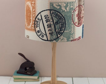 Airmail Lampshade, Vintage travel ephemera ceiling shade, neutral passport stamps, red and cream light pendant shade