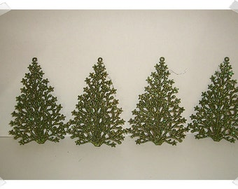 Glittered Tree Ornaments/Set of 4/  Holiday/Craft Supplies*