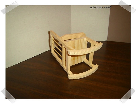 Unfinished wooden rocking chair miniature craft supplies for Small wooden rocking chair for crafts