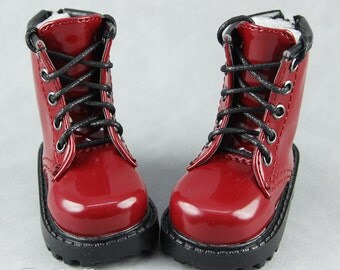 Fatiao - 1/4 BJD MSD dollfie Lace-up Martin Boots Shoes - Red (Size 6cm)
