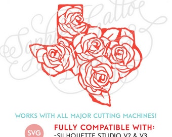 Texas State Roses SVG DXF PNG digital download files for Silhouette Cricut vector clip art graphics Vinyl Cutting Machine, Screen Printing