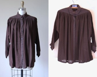 Vintage Indian Cotton Top - Moody Chocolate Brown Gauze Cotton Tunic Minimalist Tunic Blouse OSFM - Deadstock