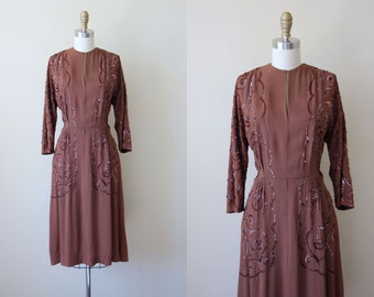 1940s Dress - Vintage 40s Dress - Cocoa Brown Sequin Flowers Rayon Cocktail Dress L - Cacao Nibs Dress