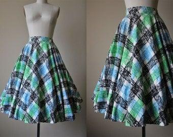50s Skirt - Vintage 1950s Novelty Skirt - Crayon Brushstroke Harlequin Plaid Print Cotton Circle Skirt XS S - Crayola Skirt