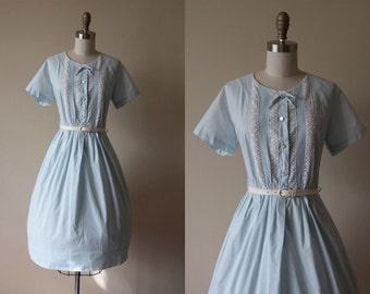 50s Dress - Vintage 1950s Dress - Pale Blue Cotton Pintucked Crochet Full Skirt Shirt Dress L - Treehouse Dress