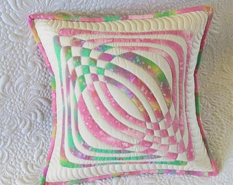 Quilted Pillow cover- applique geometric design