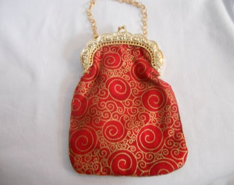 Red And Gold Swirl Medium Purse, New