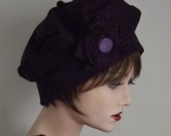 Purple fabric Tam, Warm Winter Hat