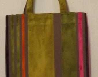 Lime Green and Pink Velvet Tote Bag, Shopper, Market Bag