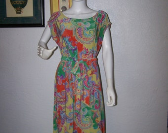 Vintage 90s Lauren by Ralph Lauren Colorful Dress with Tie Belt Size Extra large Short Length Fall Holiday Womens Casual Leisure COUPON