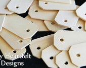 Small Wooden Gift Tags (Lot of 25) MINI Tag Shape, DIY Wedding Name Tags, Unfinished Wood [Blank labels / ornaments]