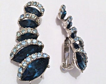 Blue Saphire Rhinestone Climbing Earring - Silver Tone - Clip On - Vintage