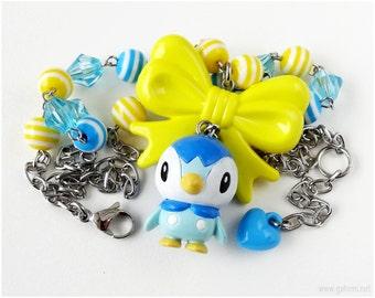 Piplup Figure Necklace, Blue, Yellow, Decora, Pokemon Gifts, Kawaii, Gamer Girl