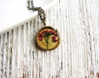 Dark Pink Flower Necklace, Pressed Flower Necklace, Botanical Jewelry, Naturalist Garden Gift, Resin Jewelry