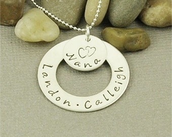 ON SALE Personalized Nana Necklace Hand Stamped Sterling Silver, Mom Necklace