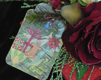 CLEARANCE!! Poinsettia Christmas Gift Wrap Paper Craft Scrapbooking Tags Package of 6