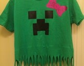 Minecraft Alex creeper girls bow birthday fringe tee shirt