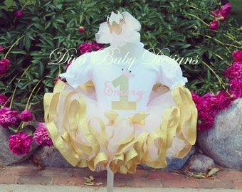 Pink and gold first birthday outfit girls 1st 2nd 3rd 4th 5th birthday tutu outfit, baby girls first, second, third, fourth birthday dress