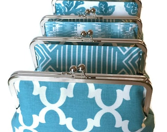 Bridesmaid Clutch, Blue Custom Personalized Clutch Purse Set -  Set of Four (4) Spring Wedding Accessory, Custom Clutch Set,