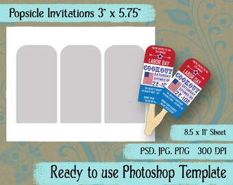 "Popsicle Invitations - Digital Layered Collage Sheet Template:  3"" x 5.75"""
