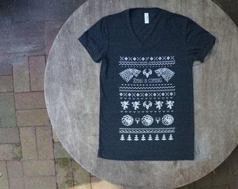 Game of Thrones Christmas Print / Ugly Xmas Sweater Tee / Geek Nerd Gift / American Apparel Women's T-Shirt