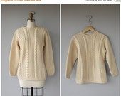 25% OFF SALE... Vintage Wool Sweater | Aran Sweater | Cable Knit Sweater | Vintage Wool Sweater | Wool Pullover
