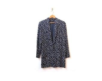 BTS SALE Vintage 90s Oversized  Blue Floral Daisy Print Preppy Chic Blazer Jacket women s m