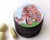 Elephant Pill Box - Elephant Vitamin Box - Polka Dotted Elephant Wood Ring Box - Jungle Animal theme Box - Tooth Fairy Box