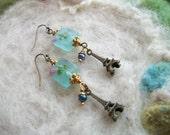 Paris Charm Earrings, Eiffel Tower, Blue Lamp Work Beads, Traveler, Tourist