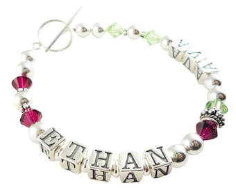 Mothers Bracelet with 2 two names or choose any personalizations. Ruby red and peridot or any birthstones, grandma