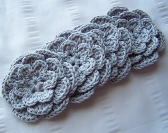 Crochet motif flower with bead 3 inch  borage light gray set of 4