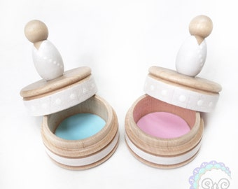 Gender Reveal Baby Shower Party Favors New Baby Peg Doll Trinket Case