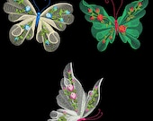 FLUTTERBY LUV #1 (5 inch size) Pack- 10 Machine Embroidery Designs Instant Download 5 X 7 hoop (AzEB)