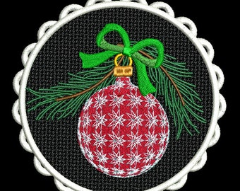 FSL CHRISTMAS ORNAMENTS #1- 1 Free Standing Lace Machine Embroidery Design Instant Download 4x4 5x7 6x10 hoop (AzEB)