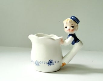 Cute Little Dutch Boy Mini Cream Pitcher - Blue and White