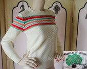 Vintage Sweater in Cream, Apricot and Green. Honeycomb Texture. Beautiful. Small.