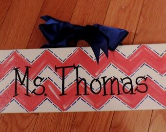 School Teacher Gift Chevron Colors Team Spirit Custom Canvas Sign Door Hanger Wreath