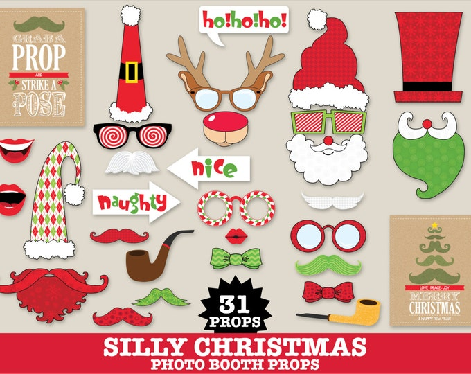 Christmas Photo Booth Props - Silly Christmas Office Party, Family Holiday Photo, Ugly Sweater Party- Instant Download PDF 31 DIY Printables