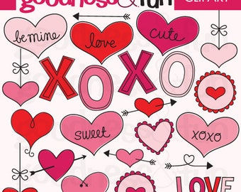 Buy 2, Get 1 FREE - Valentine Doodles Valentine's Day Valentine Clipart - Digital Valentine's Day Clipart - Instant Download