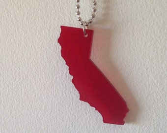 Large California Necklace in See Thru Dark Red Acrylic Plastic, State Necklace