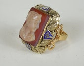 Antique Estate 1800's 1960's Carletto Italy Large 18K Gold Cameo Carnelian Ring