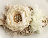 Ivory, Champagne and gold headband