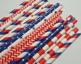 Patriotic - Red/White/Blue - Mixed Patterns/Colors - 24 - Paper Drinking Straws Weddings/Showers/Parties/Events/Holidays/Fourth of July
