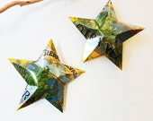 Sierra Nevada Otra Vez Prickly Pear Cacuts and Grapefuit Beer Stars Ornaments Aluminum Can Upcycled  Green Yellow Black